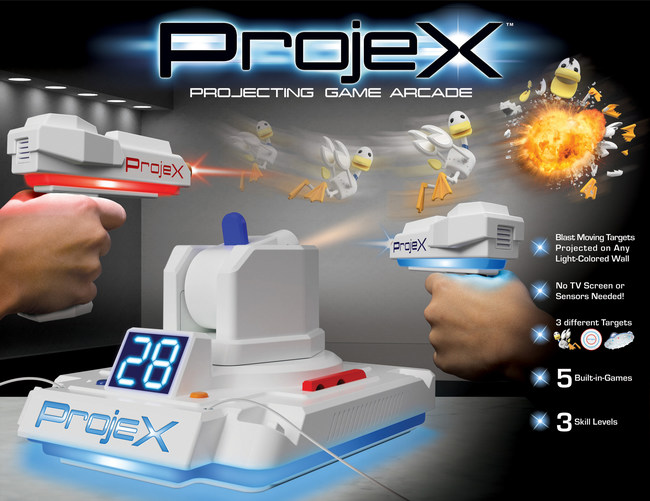 ProjeX lets you blast targets projected right onto your wall. Play five different games, without the need for a TV, computer or smartphone!