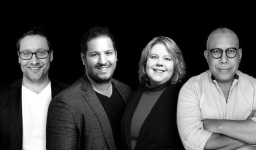 From left to right: Curtis Gavura, President, CPO and Co-Founder, Basil Bouraropoulos, Chief Executive Officer and Co-Founder, Carolina Bessega, PhD, Chief Scientific Officer and Co-Founder, Jaime Camacaro, PhD, Chief Innovation Officer and Co-Founder. (CNW Group/Stradigi AI)