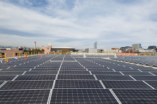 The Auraria Sustainable Campus Program (ASCP), in partnership with the Auraria Higher Education Center (AHEC) and Namast? Solar of Boulder, is nearing the completion of a 779 kW solar array installation atop the Auraria Library. It is the largest single-roof solar array in Downtown Denver according to Xcel Energy.
