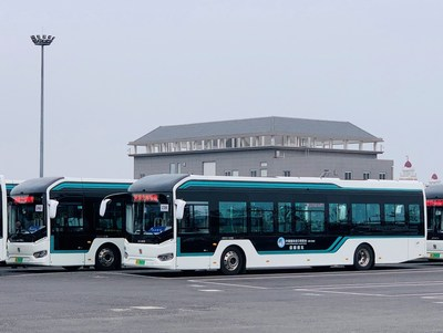 Sunwin 12-meter electric-powered bus fleet at CIIE 2019