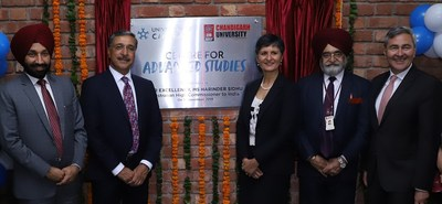 Harinder Sidhu, Australian High Commissioner to India inaugurating the Indo-Australian Centre for Advanced Studiesat Chandigarh University Campus along with Satnam Singh Sandhu, Chancellor Chandigarh University, Dr. Deep Saini, Vice-Chancellor and President University of Canberra