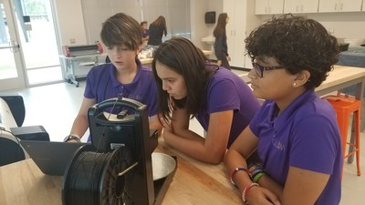 Students from the Girls Leadership Academy of Wilmington work with a 3D printer in the school's makerspace, which was funded through a $500,000 grant from the SunTrust Foundation.