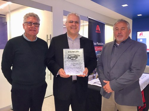 Left to Right: Nigel Budden, President of the Americas, Axalta; Phil Henriques, Business Director, Americas - Commercial Transportation Coatings, Axalta; Mike Vallieres, Supplier Management East, Daimler Truck