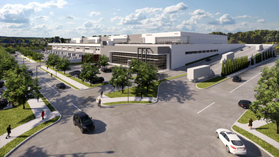 Rendering of multistorey industrial distribution facility at Riverbend Business Park located in Burnaby. The second storey is accessible to full size transport trailers via a heated ramp. (CNW Group/Oxford Properties Group Inc.)