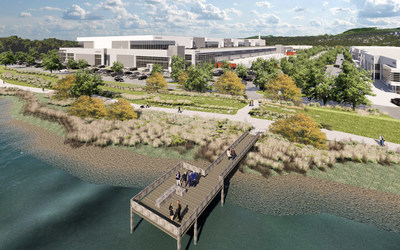 The new development at Riverbend Business Park will promote employee wellness via the construction of an amenity pier that stretches out into the Fraser River and walking trails that connect to the public trail system. (CNW Group/Oxford Properties Group Inc.)