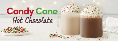 Toboggan your way into the holidays with festive drinks including candy cane flavoured hot chocolate, gingerbread tea and lattes and a frosty gingerbread Iced Capp™. (CNW Group/Tim Hortons)