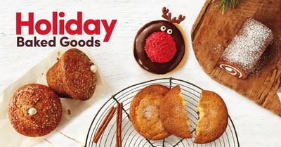 On November 27, guests can enjoy holiday baked goods including a festive red-nosed reindeer donut, a delicate chocolate swiss roll, a filled ginger molasses cookie and a filled gingerbread muffin. (CNW Group/Tim Hortons)