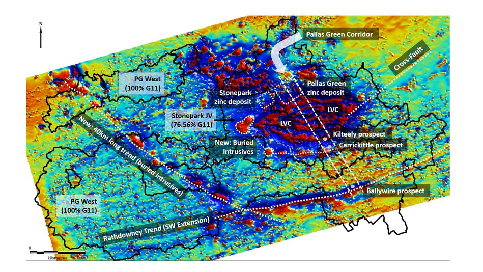 Exhibit 1. Magnetic Data from Tellus Survey over the Stonepark JV and PG West Property, Ireland (CNW Group/Group Eleven Resources Corp.)