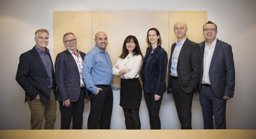 From left to right :  Louis Mousseau, Luc Filiatreault, Pierre-Luc Tremblay, Hélène Hallak, Roxane Lacerte, Paul Bourque and Laurent Allardin  © Laura Dumitriu (CNW Group/Mediagrif Interactive Technologies Inc.)