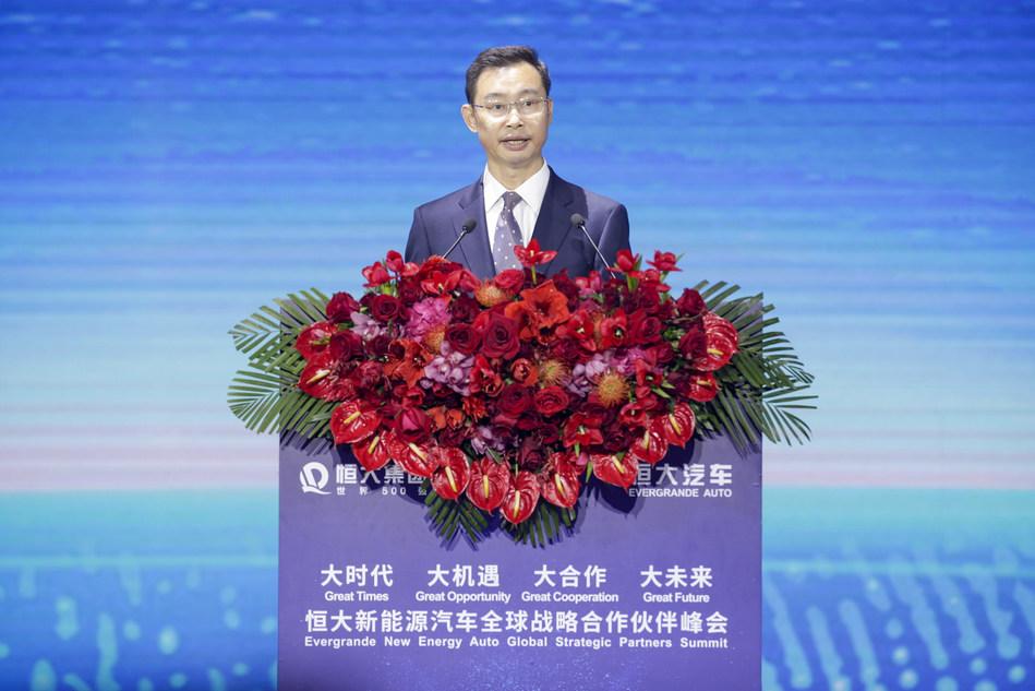 Wen Guohui, alcalde de la ciudad de Guangzhou, pronuncia un discurso en la cumbre, el 12 de noviembre.