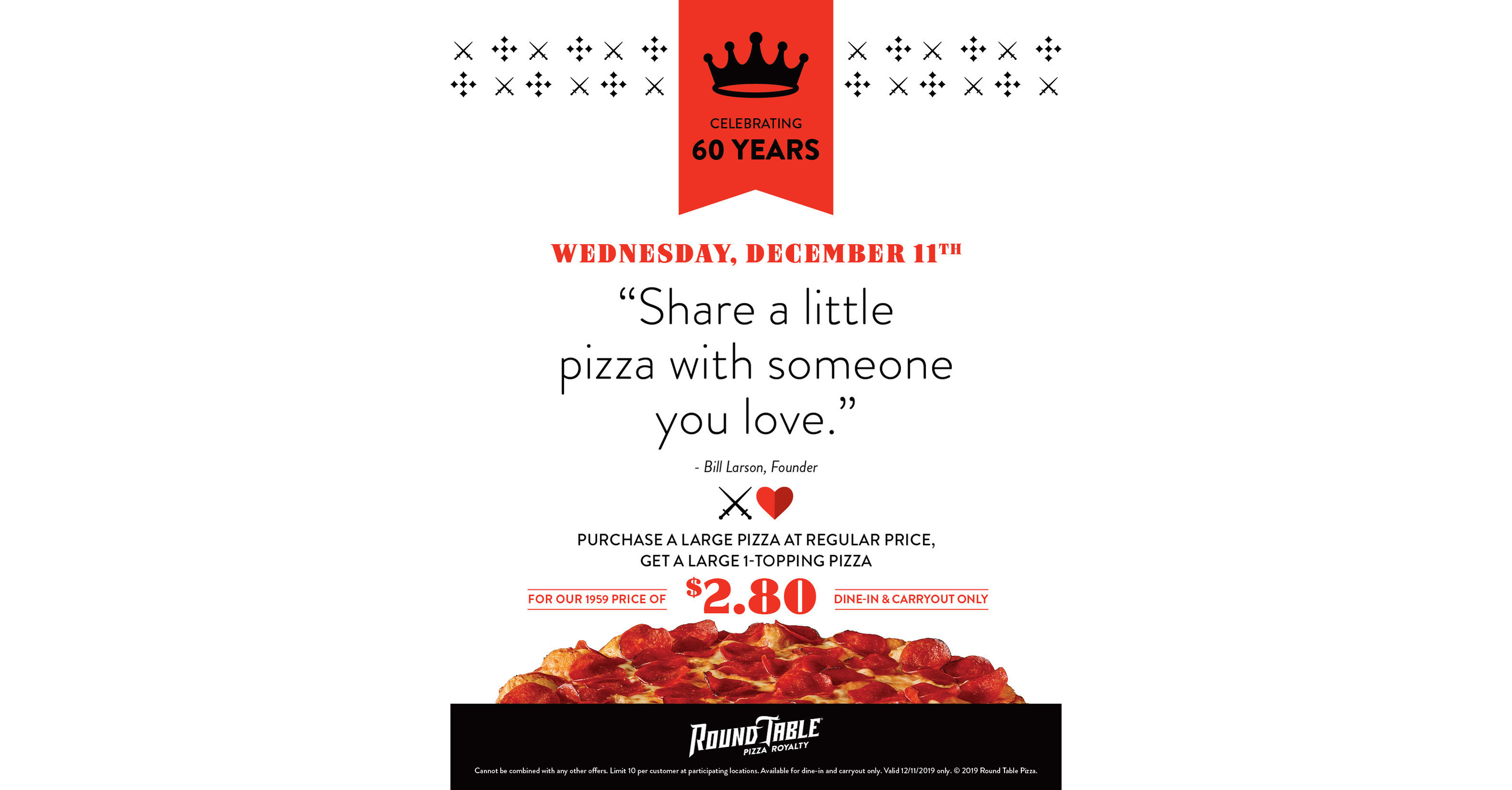 Round Table Pizza Invites Customers To Share A Little