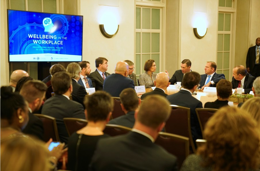 PenFed President/CEO James Schenck participating in a roundtable leadership discussion with Robert Wilkes, United States Secretary of Veterans Affairs; Joe Grogan, Assistant to the President, Director of the Domestic Policy Council, The White House; The Honorable James N. Stewart, Under Secretary of Defense for Personnel and Readiness; Dr. Barbara Van Dahlen, Executive Director, PREVENTS Task Force and corporate leaders.