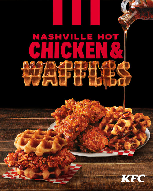 KFC's new limited-time menu item is the most delicious union of all time – Nashville Hot Chicken & Waffles, available as a sandwich or platter meal starting November 18.