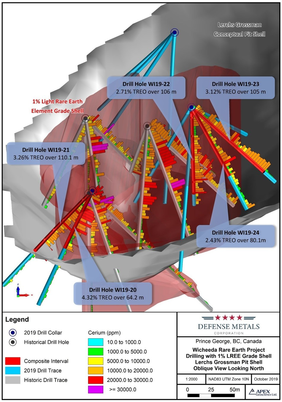 Figure 1: Oblique View Wicheeda Deposit 2019 Diamond Drill (CNW Group/Defense Metals Corp.)