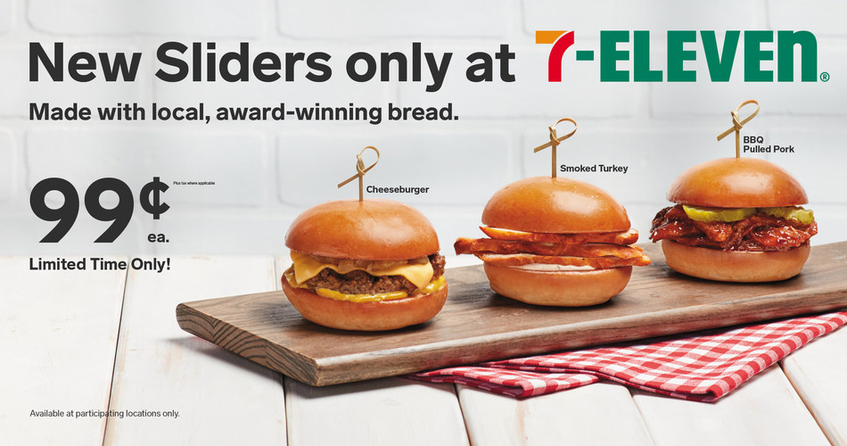 7-Eleven, Inc. has beefed up its growing hot foods menu with three new slider-style sandwiches. The cheeseburger, pulled pork and smoked turkey sliders are assembled and delivered daily on artisan Hawaiian brioche rolls from popular, award-winning local bakery, Village Baking Company.