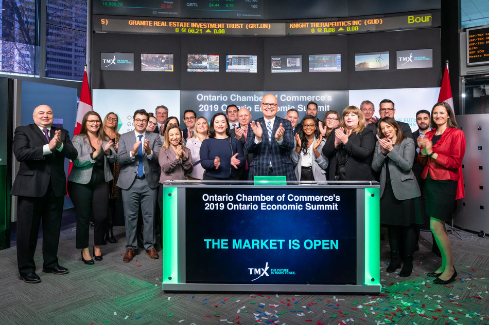 Ontario Chamber of Commerce, alongside Ontario Economic Summit (OES) partners, opens the market on day one of the 2019 Summit. (CNW Group/TMX Group Limited)