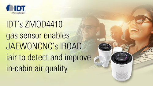 IDT's ZMOD4410 gas sensor enables JAEWONCNC's IROAD iair to detect and improve the in-cabin air quality of cars.