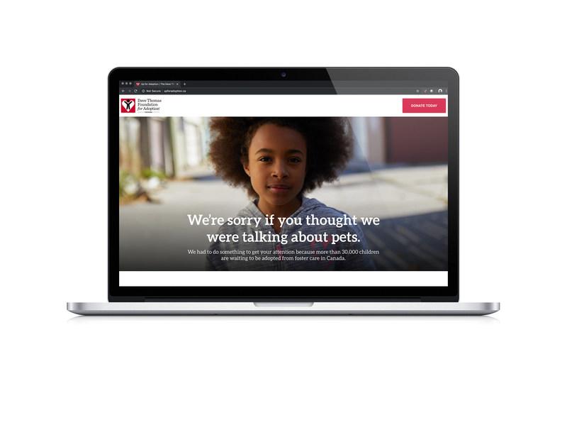 UpForAdoption.ca website from the Dave Thomas Foundation-Canada. (CNW Group/Dave Thomas Foundation for Adoption-Canada)