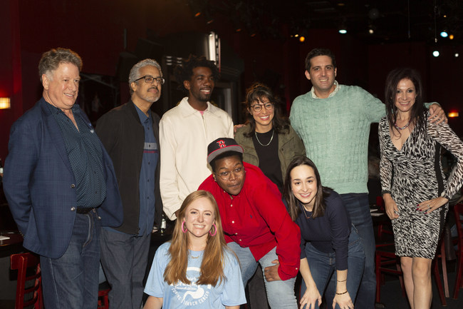 Bob Mandel (event co-chair), Angelo Lozada, comedians Gary Richardson, Melissa Villaseñor of SNL, co-chair Andrew Elkin, DDF Chief Executive Officer Andrea Eidelman, Lauren Mandel (event co-chair), and comedians Sam Jay and Ali Kolbert at the 5th Annual New York Night of Laughter. [Photo by Ava Williams]
