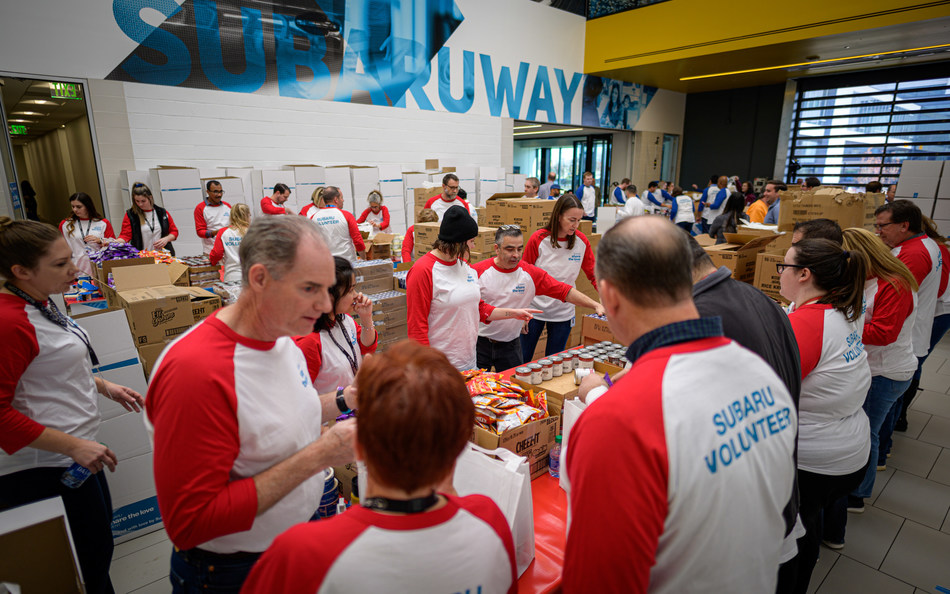 To kickoff the Subaru Share the Love Event, Subaru employees pack and donate 60,000 meals for Food Bank of South Jersey to provide weekend meals to over 750 children in Camden, NJ.