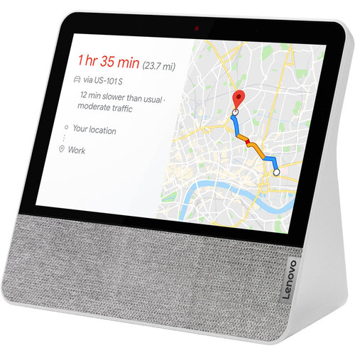 """Enjoy all the functionality of the Google Assistant and a 7"""" touchscreen with the blizzard white Lenovo 7"""" Smart Display."""