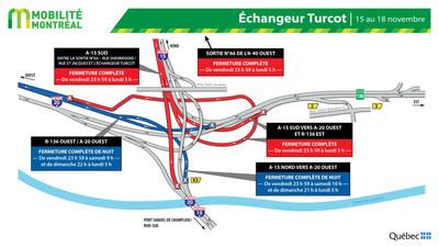 Fermetures Turcot, fin de semaine du 15 novembre (Groupe CNW/Ministère des Transports)