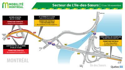 Entraves SSL A15 secteur Atwater, fin de semaine du 15 novembre (Groupe CNW/Ministère des Transports)
