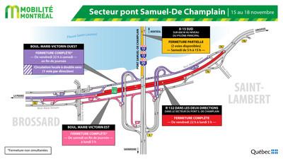 Fermetures SSL secteur pont Samuel-De Champlain / A10 / R132 à Brossard, fin de semaine du 15 novembre (Groupe CNW/Ministère des Transports)