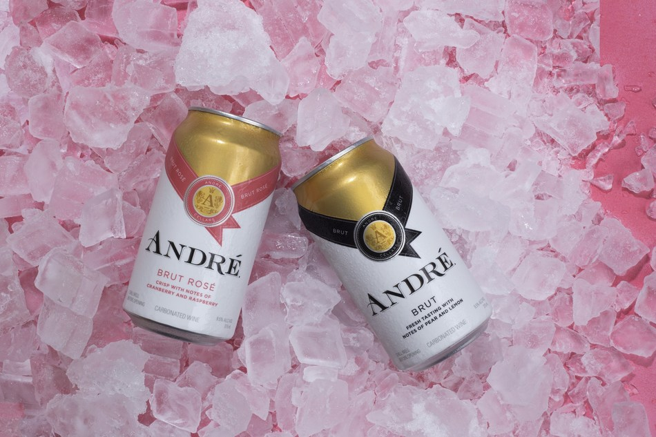 """André®'s new-to-market 375mL cans, available in both Brut and Brut Rosé."""