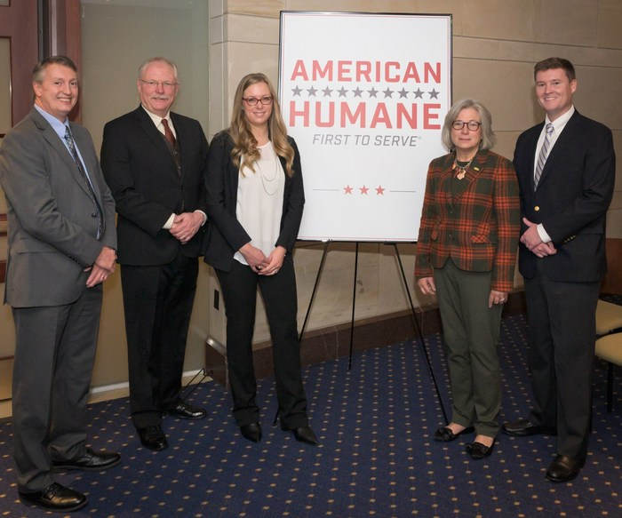 Capitol Hill focus on humane farming (L to R): Drew Frey, director of live operations, Culver Duck Farms, Inc.; Mel Coleman, vice president, Coleman Natural; Jessica Langley, director of sustainability at Pilgrim's; Alice Johnson, DVM, senior vice president for animal well-being at Butterball LLC; and American Humane COO Jack Hubbard.AAR
