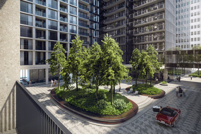 Rendering: 1 Square Phillips - The outdoor entrance area will be secluded from the rest of downtown Montreal, like a luxurious garden in the heart of the city. Claude Cormier, landscape architect and senior partner with Claude Cormier & Associates is responsible for the project's landscape design (CNW Group/Brivia Group)