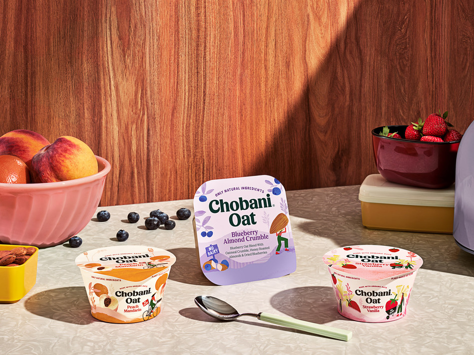 Chobani® Oat Blend cups are available in four purposeful pairings of elevated and familiar flavors including Strawberry Vanilla and Blueberry Pomegranate. Chobani® Oat Blend with Crunch are available in Strawberry Granola Crunch, Blueberry Almond Crumble, and Peach Coconut Crunch.