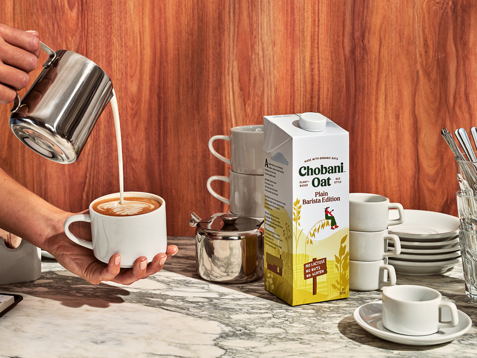 Chobani™ Oat Drink Barista Blend was specifically designed to behave like steamed whole milk in coffee and tea.