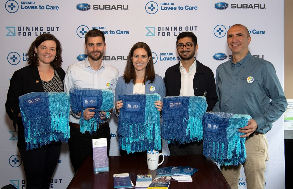 Celebrity Dining: Dining Out For Life® Hosted by Subaru Achieves Record $4.2 Million in Donations. Subaru of America employees donate blankets to Philadelphia-based Action Wellness (left to right) Emma Hamm, Joe Pawlicki, Liz Edelen, Harish Pathak, and Hak Kazandjian.