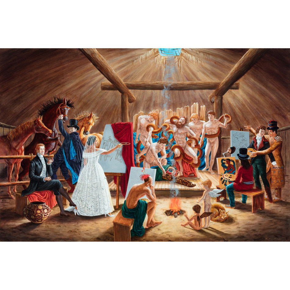 KENT MONKMAN STUDY FOR THE ACADEMY, 2008 acrylic on canvas 24 ins x 36 ins; 61 cms x 91.4 cms  Estimate $40,000-$50,000 (CNW Group/Waddington McLean & Company Limited)