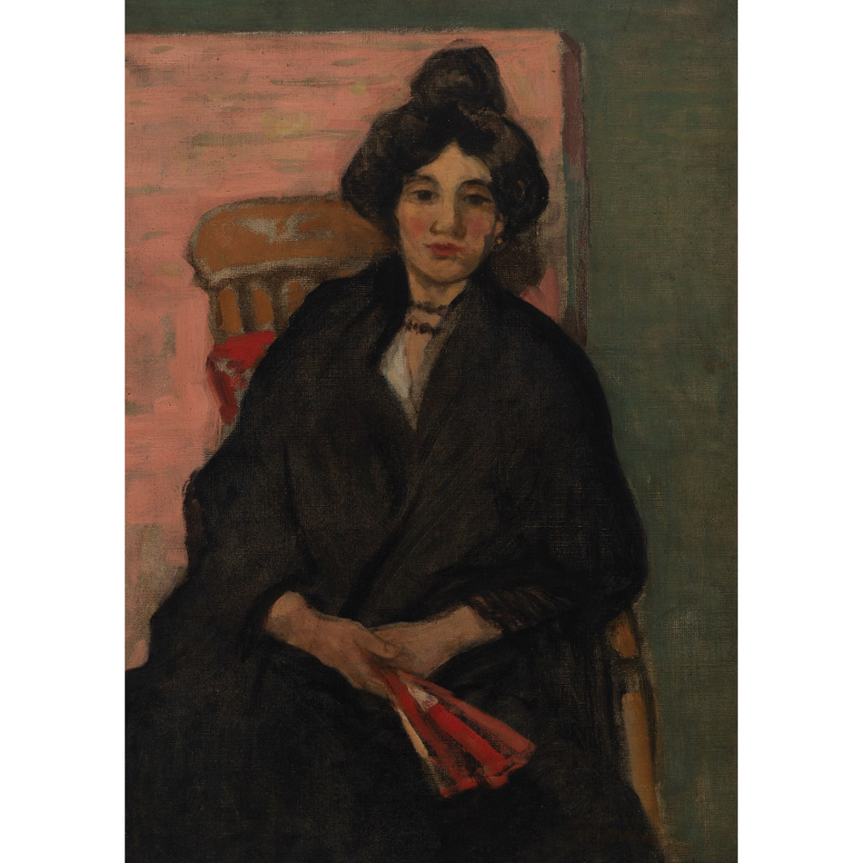 JAMES WILSON MORRICE LADY WITH THE RED FAN, c.1904 oil on canvas 19.125 ins x 14.25 ins; Estimate $150,000-$250,000 (CNW Group/Waddington McLean & Company Limited)