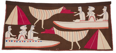 JESSIE OONARK Baker Lake / Qamani'tuaq UNTITLED double-sided wallhanging signed in syllabics, c.1976 27 x 60 in — 68.6 x 152.4 cm Estimate $40,000-$60,000 (CNW Group/Waddington McLean & Company Limited)
