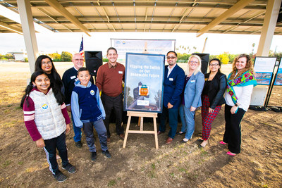 "Hayward USD community, students, and district partners ""flip the switch"" on the District's new sustainable energy and STEAM program, 2019."