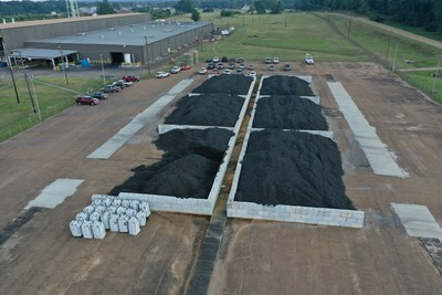 Crumb rubber holding bays at Delta Energy Group plant in Natchez, MS.