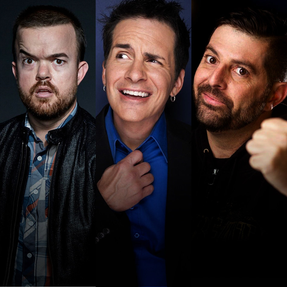 Comedy Bombcast launches on LiveXLive with (l-r) Brad Williams, Hal Sparks, and Sam Tripoli.