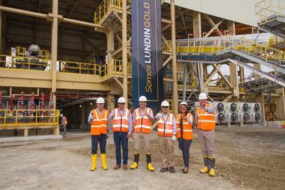 Figure 3. (L-R) Lukas Lundin, José Iván Agusto Briones, Otto Sonnenholzner, Carlos Pérez, Kelly Montaño and Ron Hochstein in front of the process plant during the inauguration ceremony at Fruta del Norte. (CNW Group/Lundin Gold Inc.)
