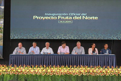 Figure 1. (L-R) Lukas Lundin, Lundin Gold Chairman; José Iván Agusto Briones, Secretary General of the Presidency of the Republic of Ecuador; Carlos Pérez, Minister of Energy and Non-Renewable Natural Resources; Otto Sonnenholzner, Vice President of Ecuador; Ron Hochstein, President and CEO of Lundin Gold; Kelly Montaño, Los Encuentros GAD President and Jorge Tenemea, Lundin Gold employee all participated in the inauguration event at Fruta del Norte. (CNW Group/Lundin Gold Inc.)