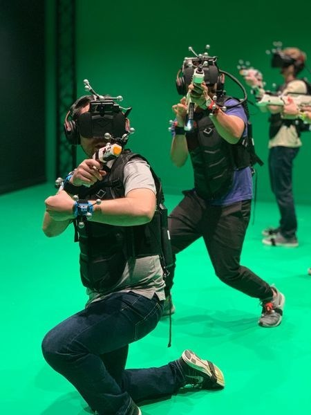 """Sandbox VR visitors play a game equipped with full-body, real-time motion capture cameras. Sandbox VR is releasing it's newest experience titled """"Star Trek: Discovery - Away Mission"""""""