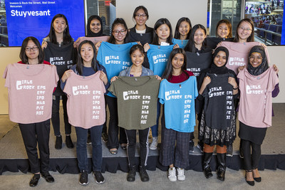Girls from Stuyvesant High School in New York City visited Invesco's downtown Manhattan office as part of the firm's sponsorship of Rock the Street, Wall Street.