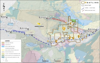 Figure 1. Larder Gold project location map showing deposits and prospects with regional gold trends. (CNW Group/Gatling Exploration Inc.)