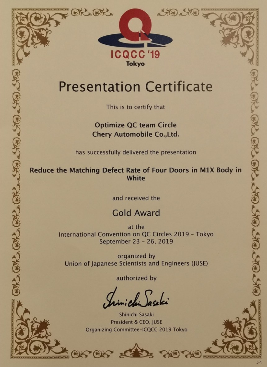 Chery wins the Gold Award in the 44th International Convention on QC Circles 2019 – Tokyo