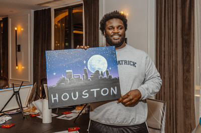 D.J. Reader, defensive nose tackle from the Houston Texans, 'Captures the Moon!' at the newly opened Cambria Hotel Houston Downtown Convention Center's VIP paint night event.