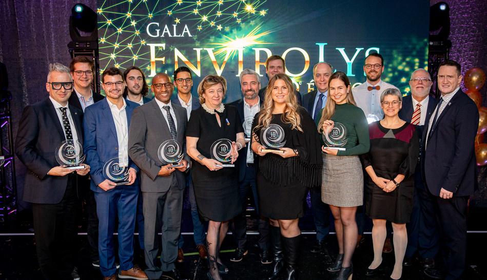 Les lauréats de l'édition 2019 du Gala EnviroLys (Groupe CNW/Conseil des entreprises en technologies environnementales du Québec (CETEQ))