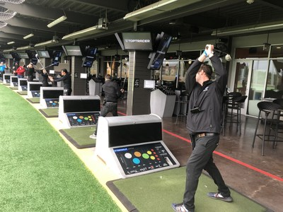 Associates at Topgolf in Austin, Texas, participating in the record breaking attempt
