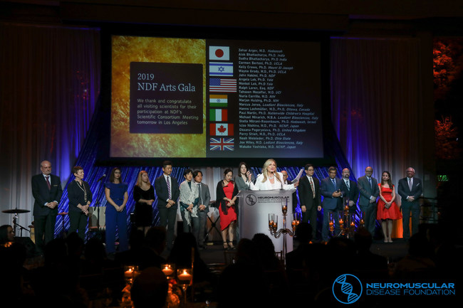 An international consortium of esteemed scientists, all working on a solution to GNE Myopathy, joined NDF CEO, Lale' Welsh on stage during NDF's gala to help fund a cure.
